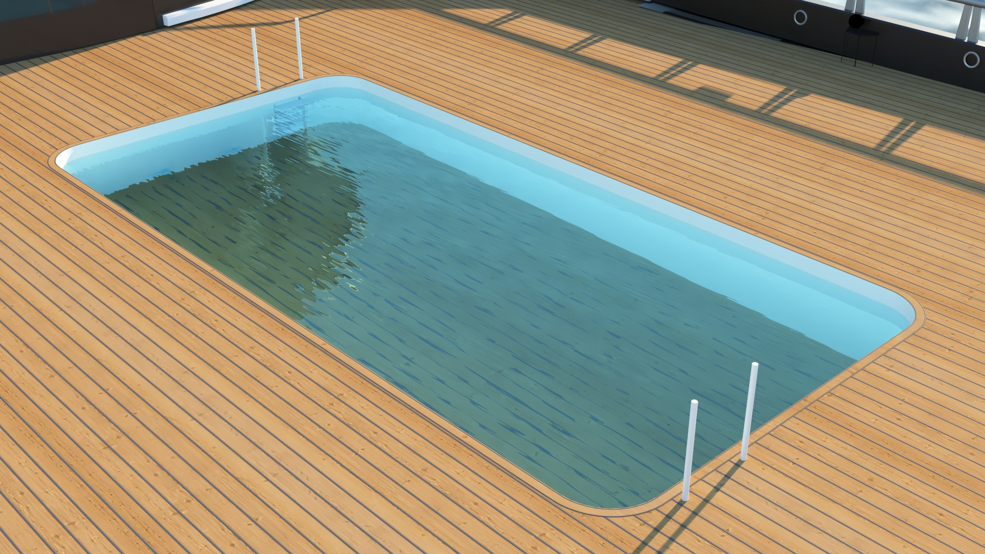 Large pools with sealing floors